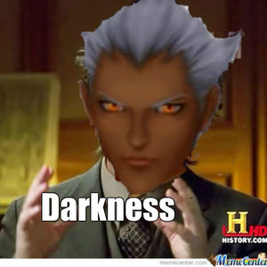 "Ansem in the History Channel meme saying ""Darkness"""