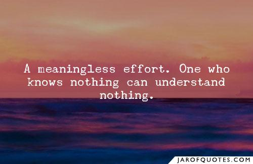 One who knows nothing can understand nothing.