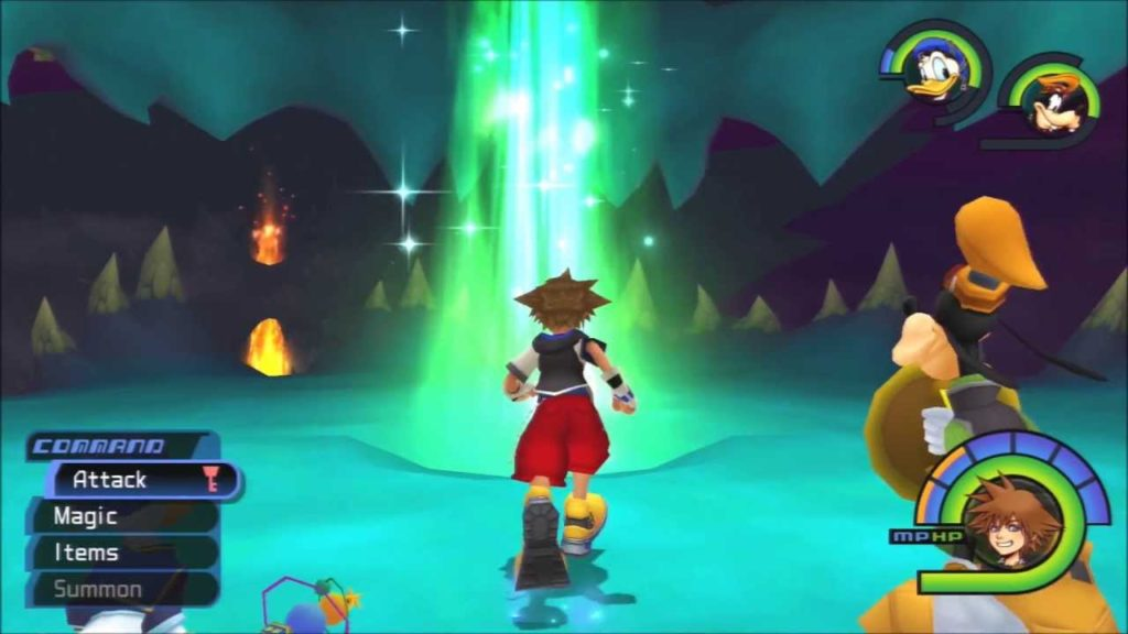 Sora running into a pillar of green light