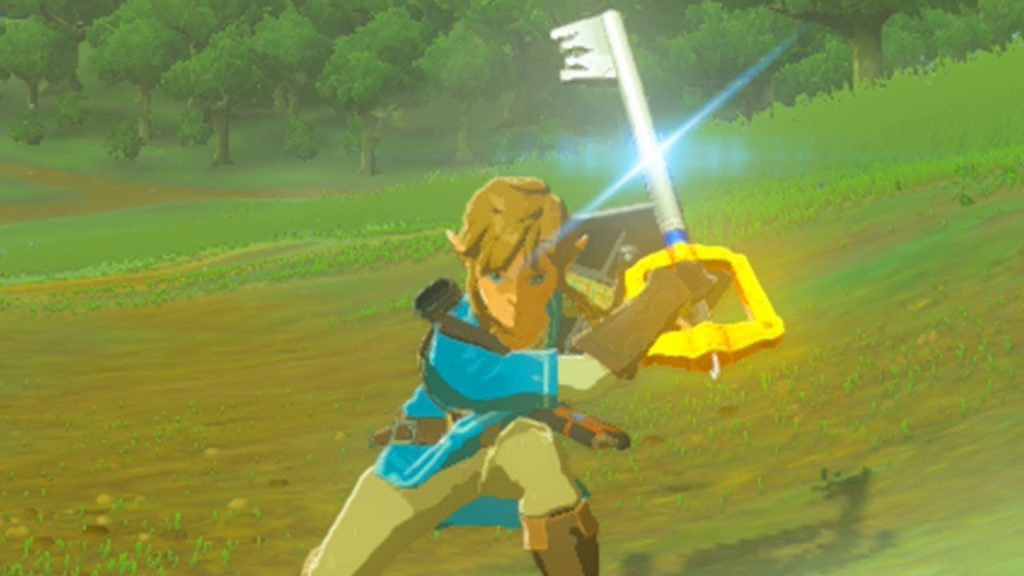 Breath of the Wild Link Wields a Keyblade