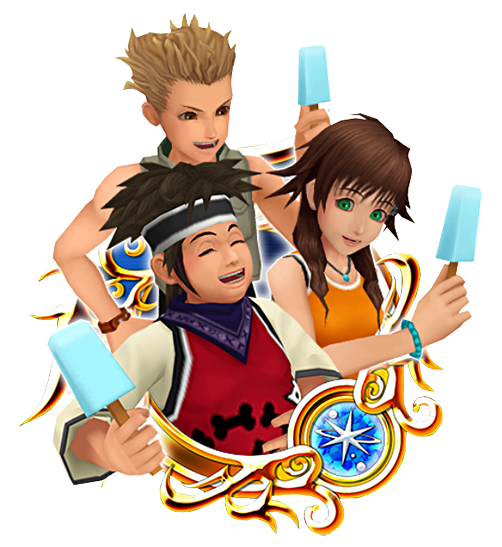 Hayner, Pence, and Olette from Kingdom Hearts 2