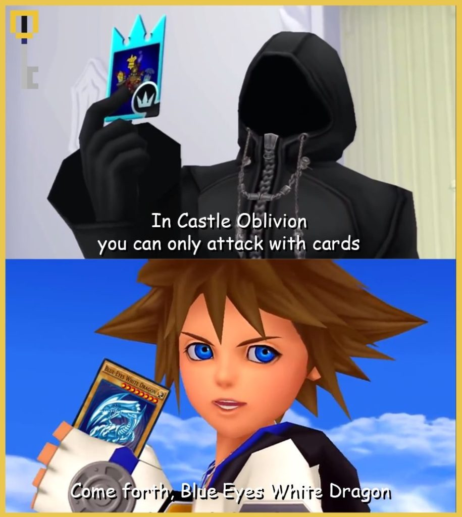 Sora fights with Blue Eyes White Dragon in Castle Oblivion