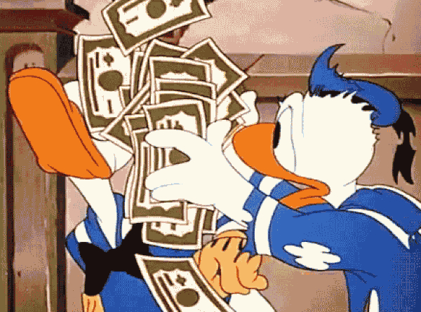 Donald Duck throwing money at Donald Duck