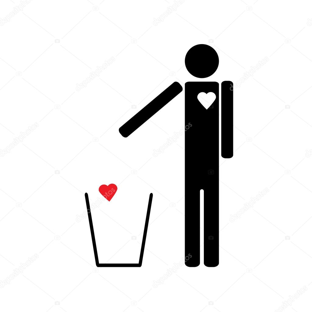 Stick figure throws heart into the trash.