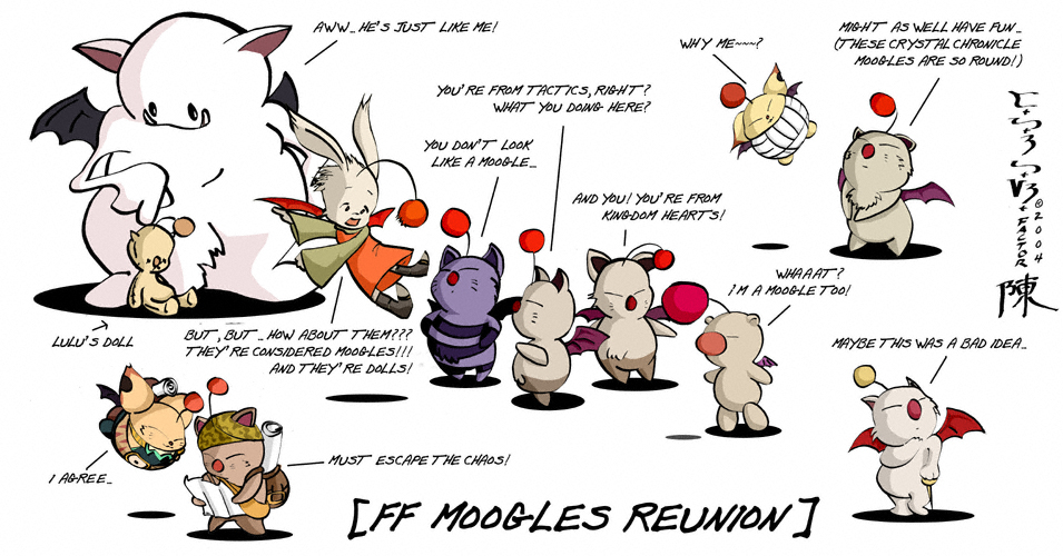 Moogles from Final Fantasty Reunion Kingdom Hearts