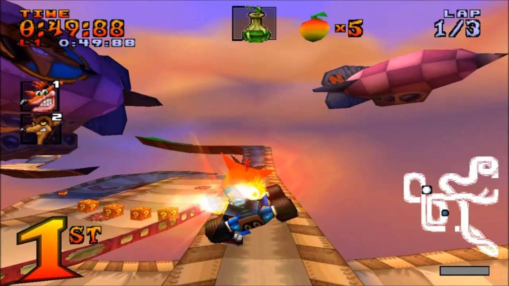 Screenshot from Crash Team Racing, a Naughty Dog game discussed on this podcast