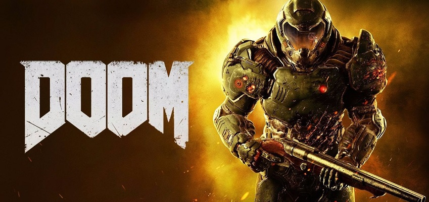 Doom logo, game discussed on video game podcast