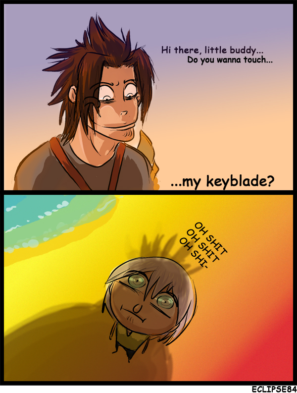 RIku and Terra keyblade cartoon