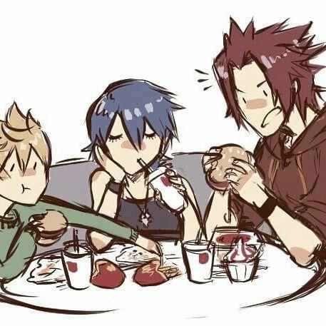Aqua Terra Ventus Friends eating fast food