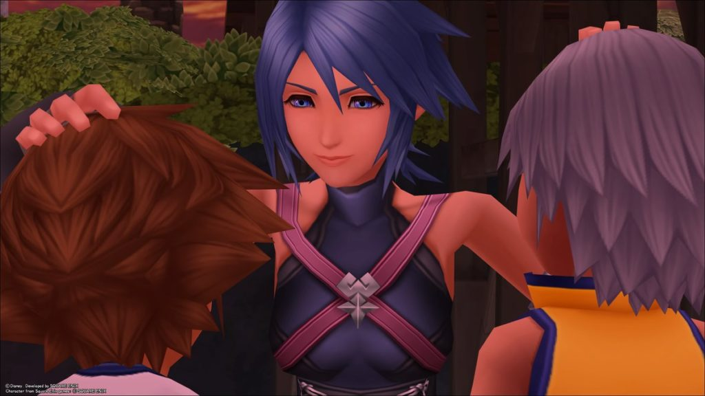 Aqua tousling Sora and Riku's hair
