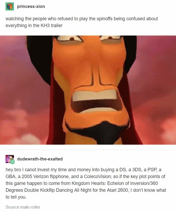 Kingdom Hearts 3 play all the side games tumblr meme