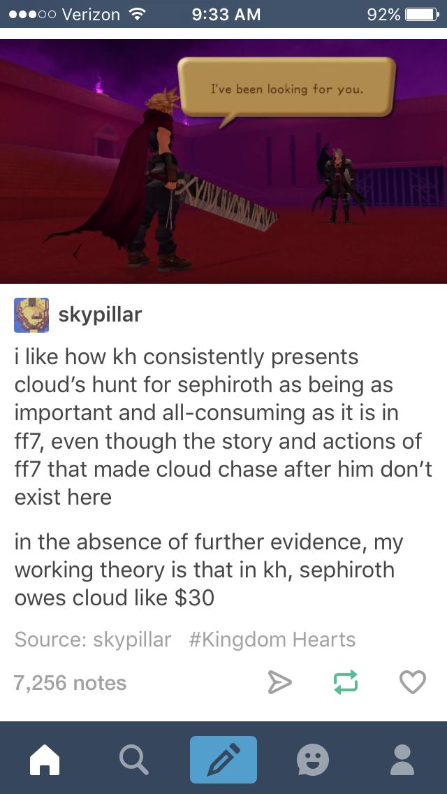 Cloud and Sephiroth Kingdom Hearts