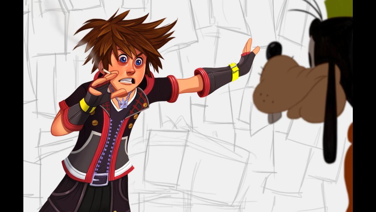 Sora and Goofy Kingdom Hearts conspiracy wall guy