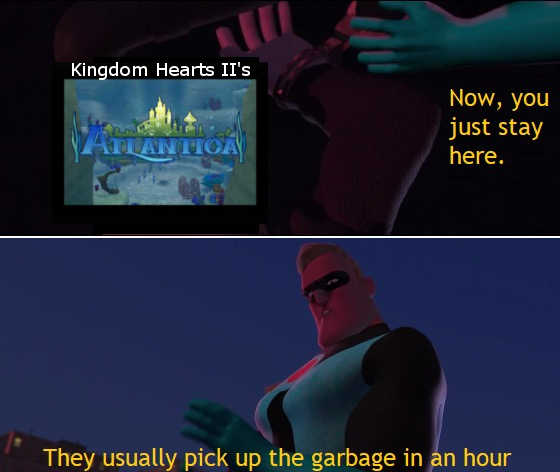 Atlantica Kingdom Hearts 2 The Incredibles pick up the garbage
