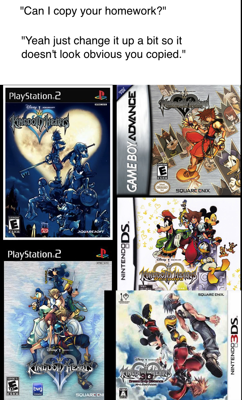 Can I copy your homework Kingdom Hearts story meme