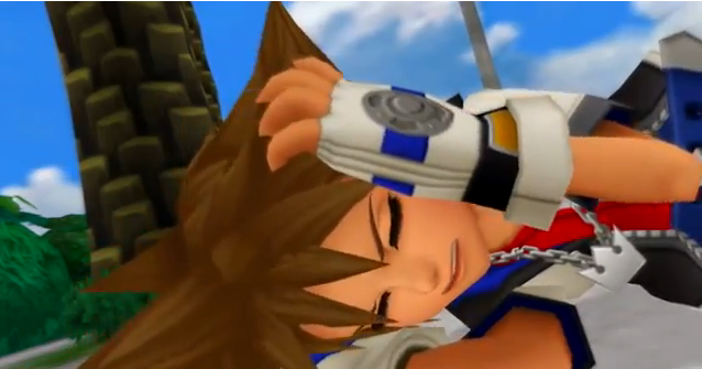 Sora hands over ears frustrated Kingdom Hearts