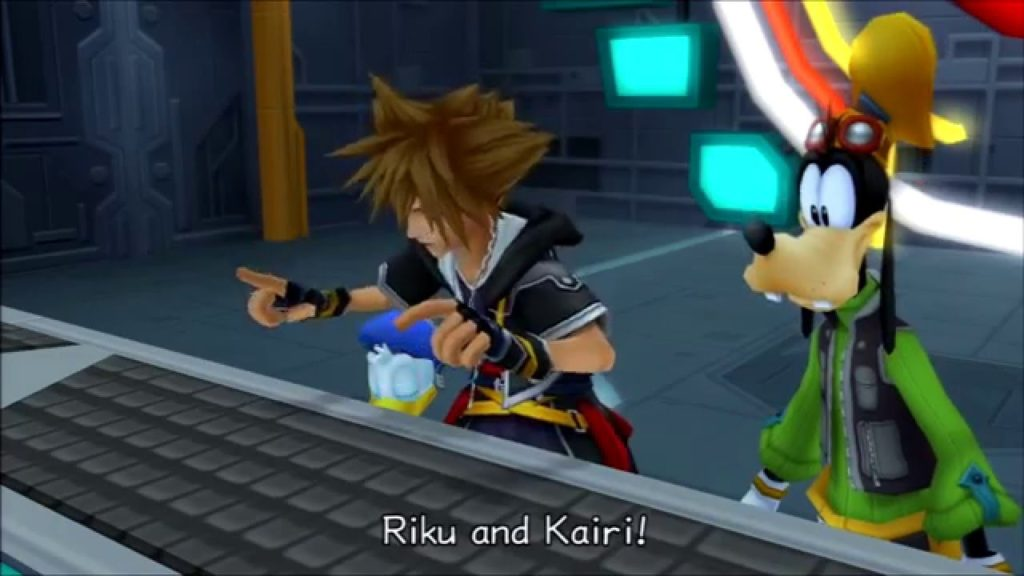 Sora, Donald, and Goofy in Kingdom Hearts 2 searching on the computer