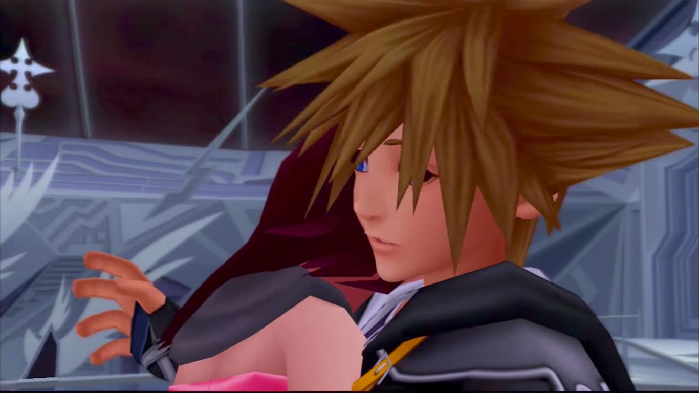 Sora and Kairi hug Kingdom Hearts 2 awkward