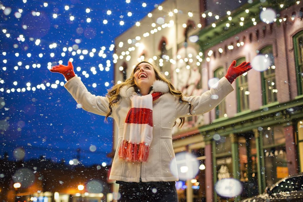 Girl celebrates the snow like an idiot