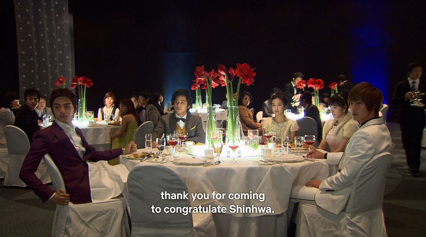 F4 and crew at Jun-pyo's birthday party in episode 15 of Boys Over FLowers
