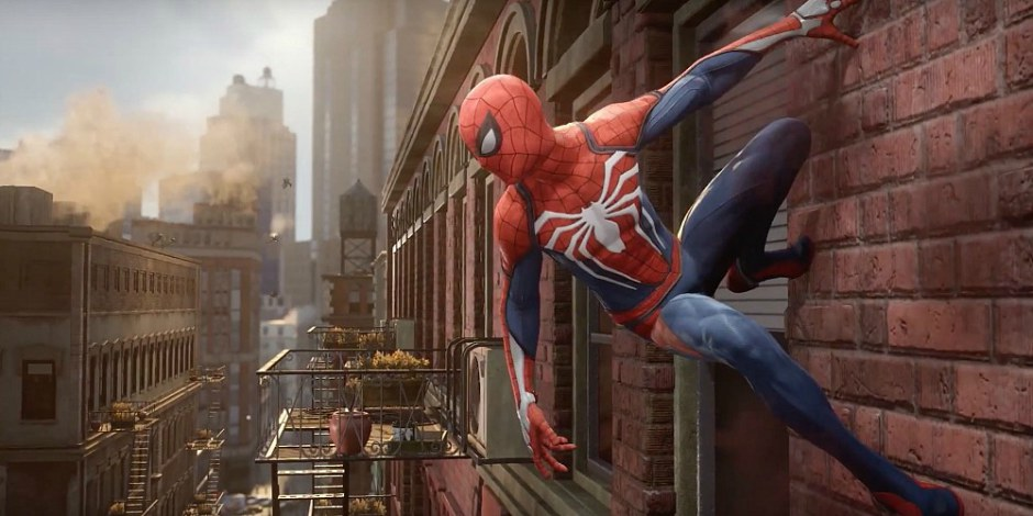 Marvel's Spider-Man from Insomniac clinging to wall, as discussed on video game podcast