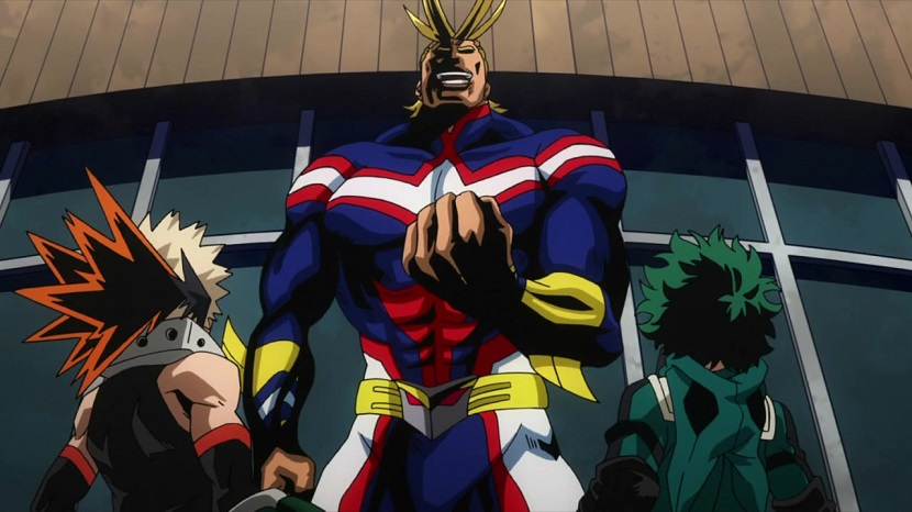 Bakugo and Deku face down All-Might in My hero Academia season 2 episode 21