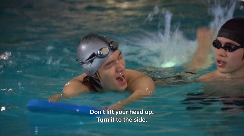 Jun-pyo learning to swim in Boys over Flowers episode 17