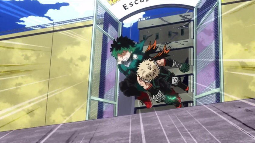 Deku and Kacchan pass in My Hero Academia season 2 episode 24