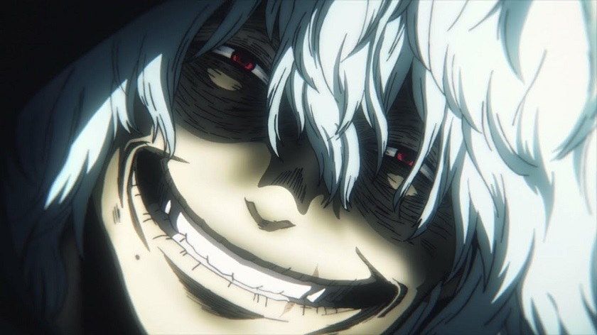 Shigaraki smile in My Hero Academia season 2 episode 25