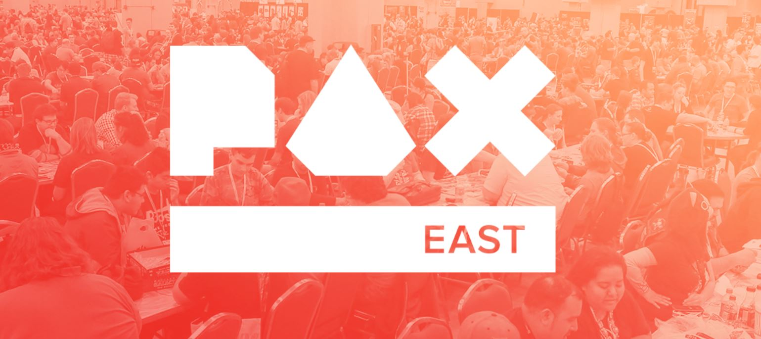 Pax east logo with people in the background