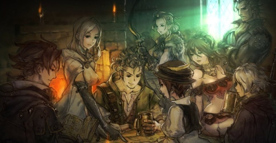 Octopath Traveler promotional art featuring all eight characters gathered together