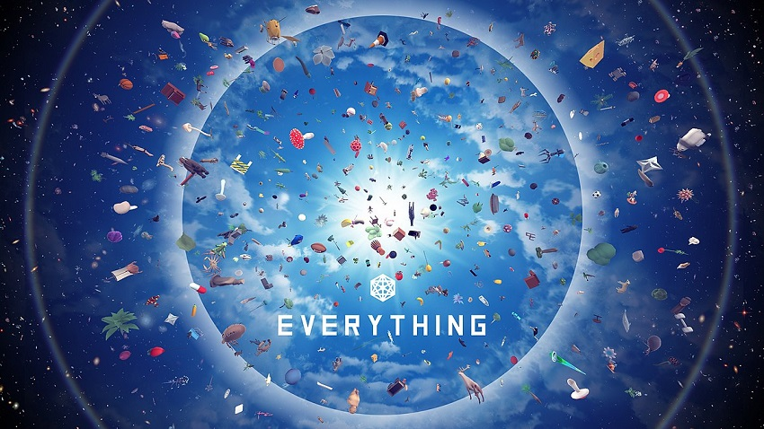 Everything video game promo art featuring the universe with many objects inside