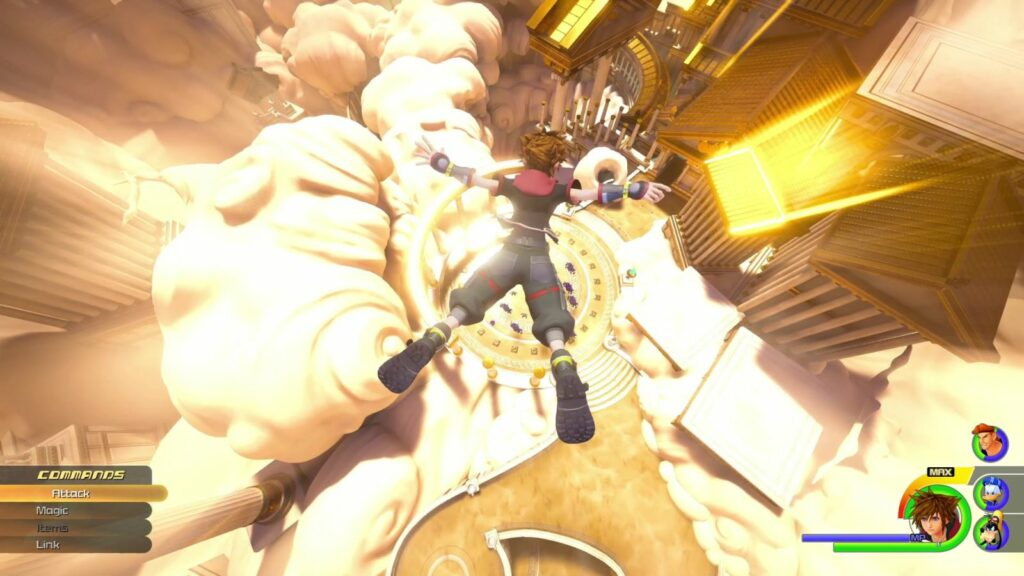 Kingdom Hearts 3 screenshot (courtesy of Disney and Square Enix) with Sora diving into Olympus