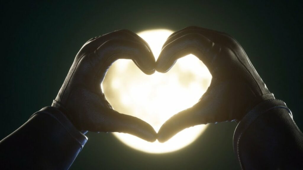 Black gloved hands making a heart shape around the moon in Kingdom Hearts 3