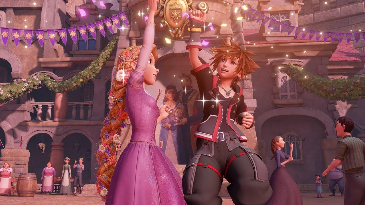 Sora and Rapunzel dancing in Kingdom Hearts 3