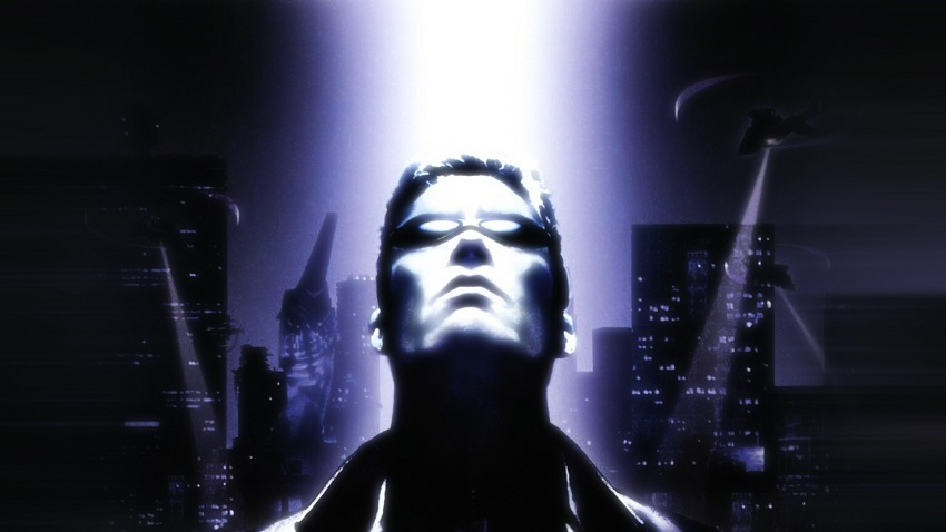 Deus Ex video game cover image featuring man in sunglasses looking up
