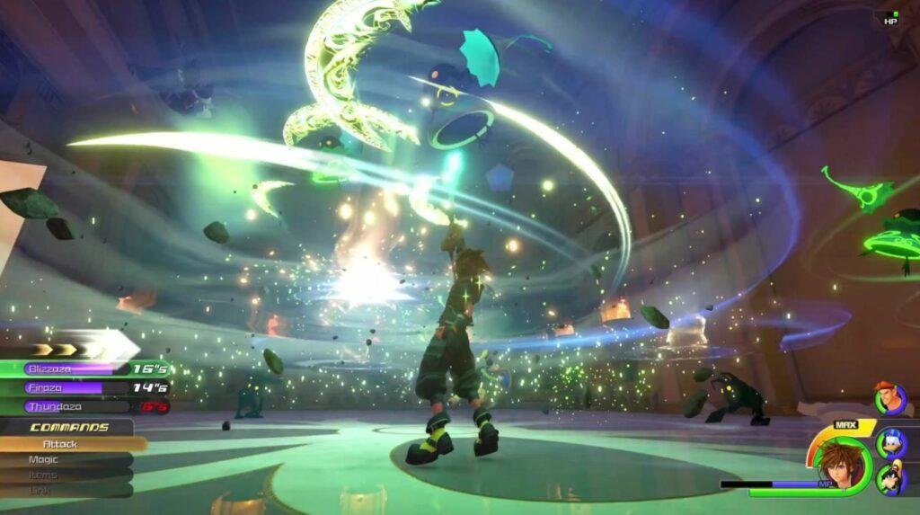 Sora uses Aero in Kingdom Hearts 3