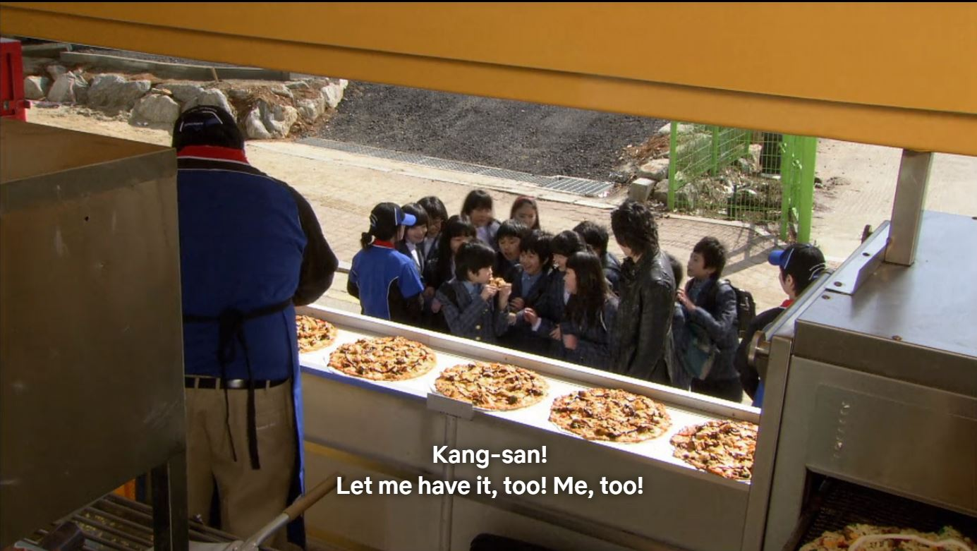 Kang-san gets all the pizza in Boys Over Flowers