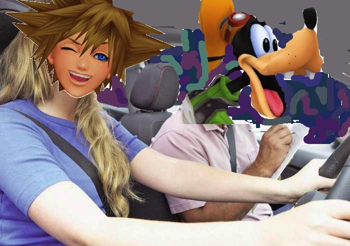 Sora and Goofy taking a driving test