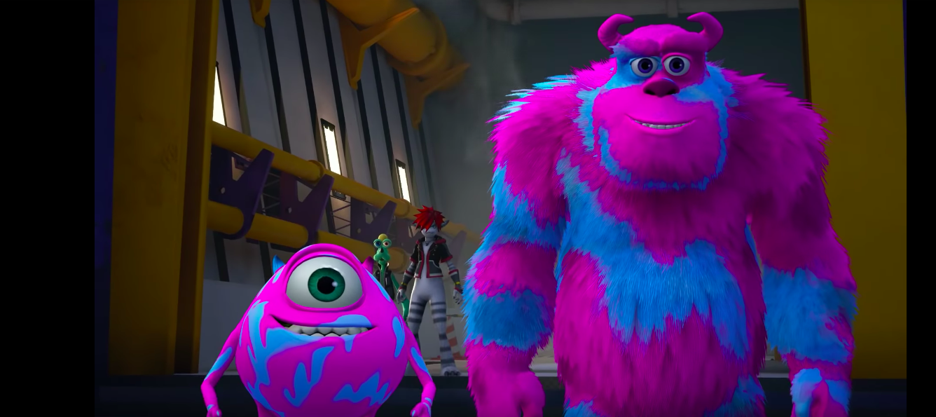 Mike and Sulley pink spray paint Kingdom Hearts 3