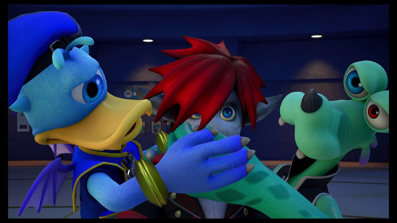Sora Donald and Goofy in Monstropolis