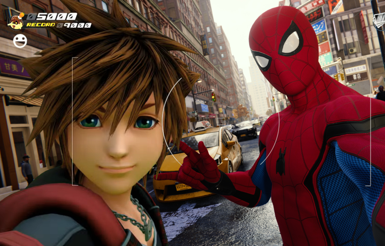 Sora and Spiderman taking a selfie together