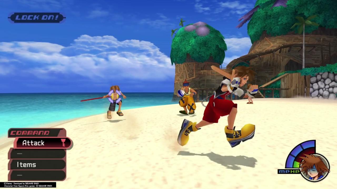 Sora fighting Tidus, Wakka, and Selphie
