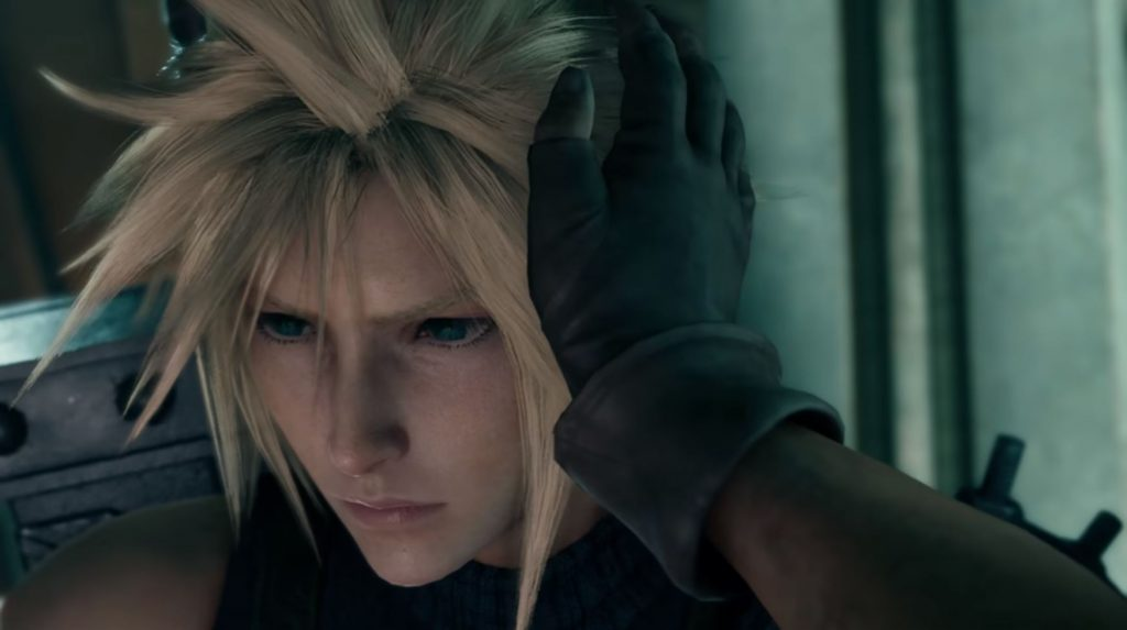 Biggs touching Cloud's hair in Final Fantasy VII Remake