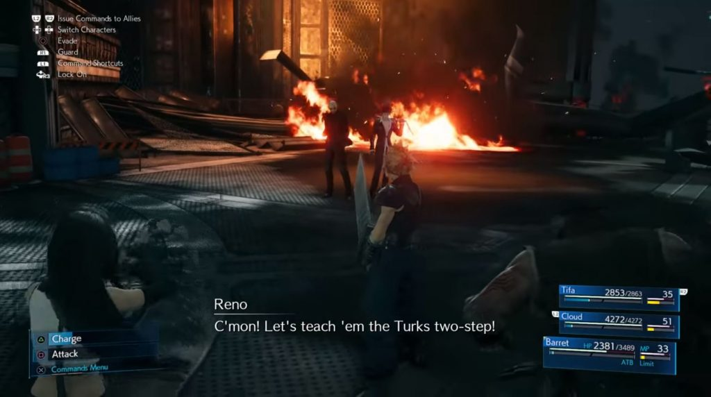 Reno and Rude fighting together in Final Fantasy VII Remake