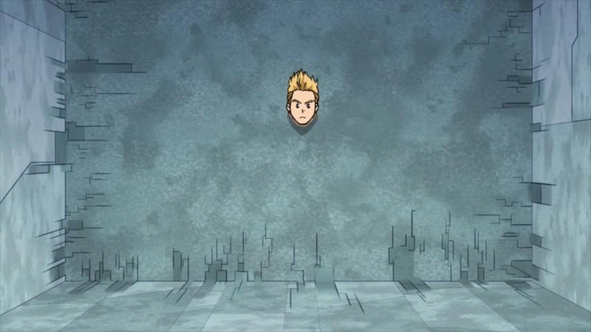 Mirio poking his head through a wall