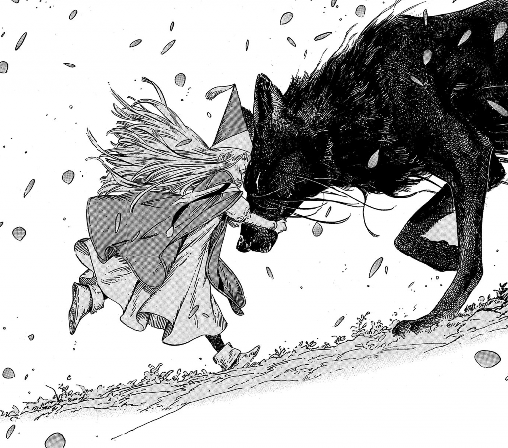 Richeh embracing Euini's wolf form