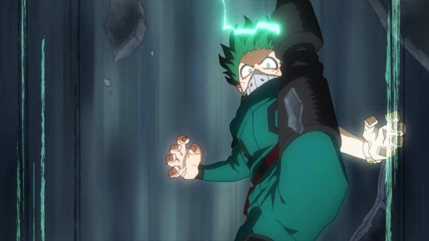 Deku ready to give a kick from above