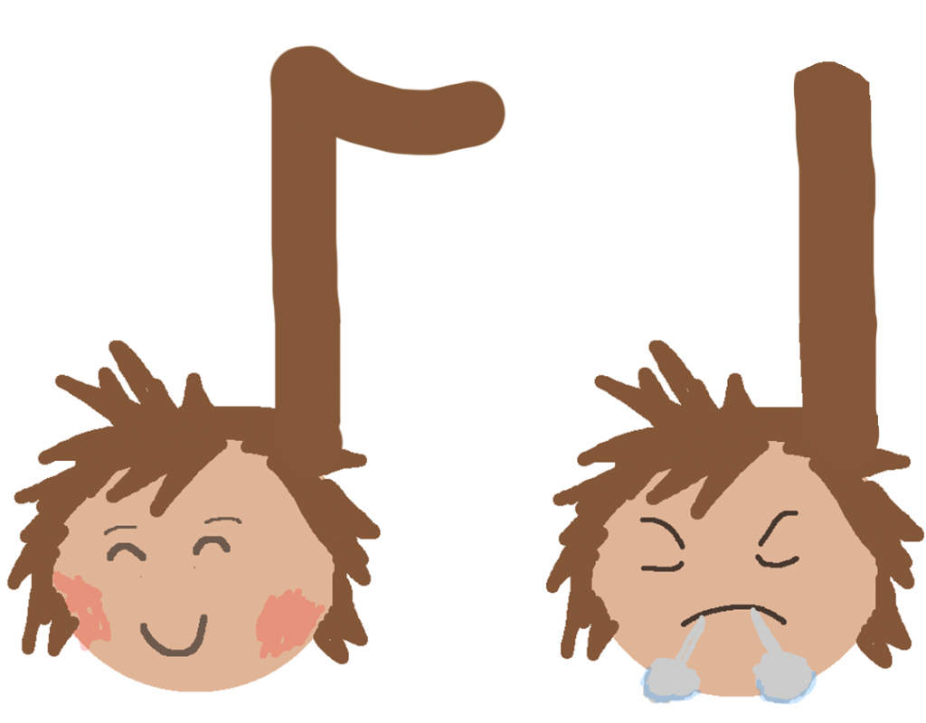 Sora emojis as an eighth and quarter note