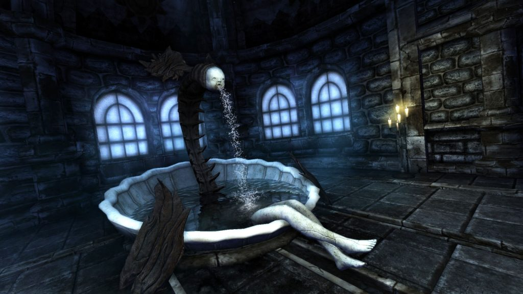 Screenshot of a creepy fountain from Amnesia